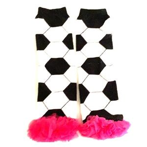 Soccer baby leg warmers with hot pink ruffles